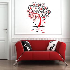 Αυτοκόλλητο τοίχου δέντρο με καρδιές