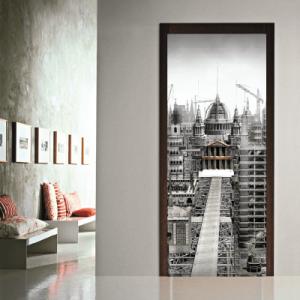 # Αυτοκόλλητο πόρτας ασπρόμαυρη πόλη - Sticker Box
