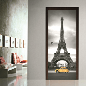 # Αυτοκόλλητο πόρτας ασπρόμαυρο Παρίσι - Sticker Box