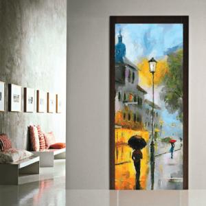 # Αυτοκόλλητο πόρτας βροχερό τοπίο - Sticker Box