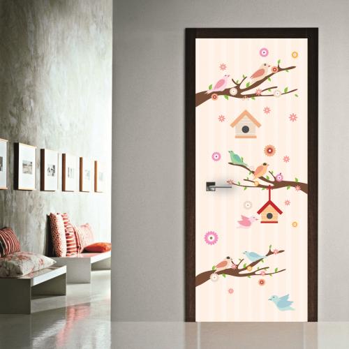 # Αυτοκόλλητο πόρτας κλαδιά με πουλιά - Sticker Box