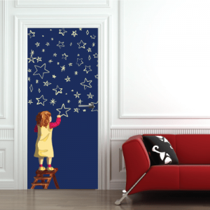 # Αυτοκόλλητο πόρτας κορίτσι ζωγραφίζει τα αστέρια - Sticker Box