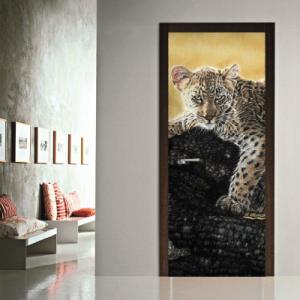 # Αυτοκόλλητο πόρτας λεοπάρδαλη στο δέντρο - Sticker Box