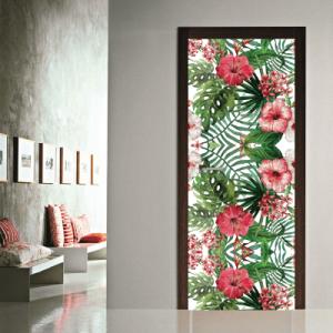 # Αυτοκόλλητο πόρτας μοτίβο με λουλούδια - Sticker Box