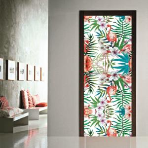 # Αυτοκόλλητο πόρτας μοτίβο με φλαμίνγκο - Sticker Box
