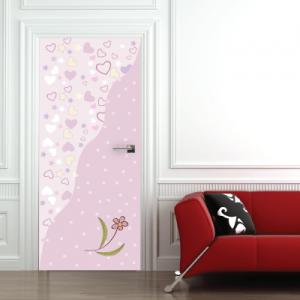 # Αυτοκόλλητο πόρτας μοτίβο πουά και καρδιές - Sticker Box