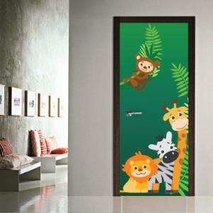 # Αυτοκόλλητο πόρτας χαρούμενα ζωάκια - Sticker Box