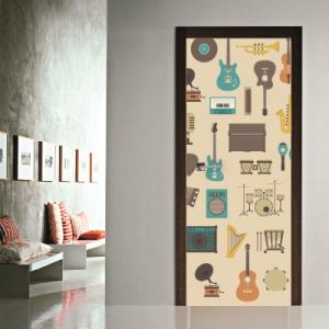 # Αυτοκόλλητο πόρτας vintage μουσικά όργανα - Sticker Box
