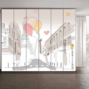 # Αυτοκόλλητο ντουλάπας Παρίσι ζωγραφιά - Sticker Box