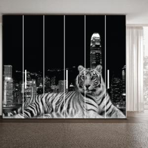 # Αυτοκόλλητο ντουλάπας ασπρόμαυρη τίγρης - Sticker Box