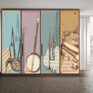 # Αυτοκόλλητο ντουλάπας μουσικά όργανα - Sticker Box