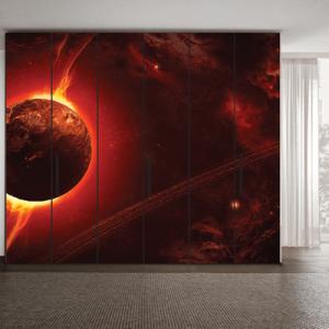 # Αυτοκόλλητο ντουλάπας φλεγόμενος πλανήτης - Sticker Box
