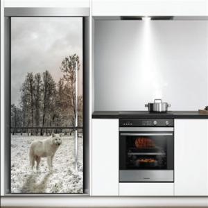 # Αυτοκόλλητο ψυγείου λύκος στο χιόνι - Sticker Box