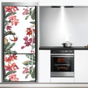 # Αυτοκόλλητο ψυγείου τροπικά λουλούδια - Sticker Box