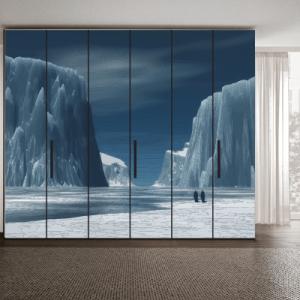 # Αυτοκόλλητο ντουλάπας τοπίο με πάγους - Sticker Box