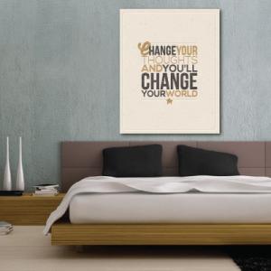 # Πίνακας με φράσεις change your world - Sticker Box