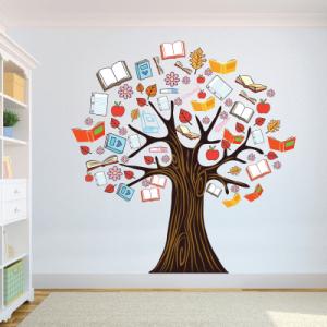 Αυτοκόλλητο τοίχου δέντρο με βιβλία