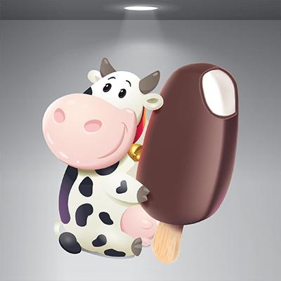 # Αυτοκόλλητο αγελάδα και παγωτό - Sticker Box