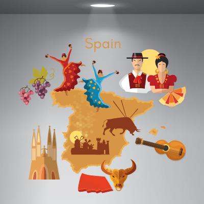 # Αυτοκόλλητο βιτρίνας ταξίδι στην Ισπανία - Sticker Box