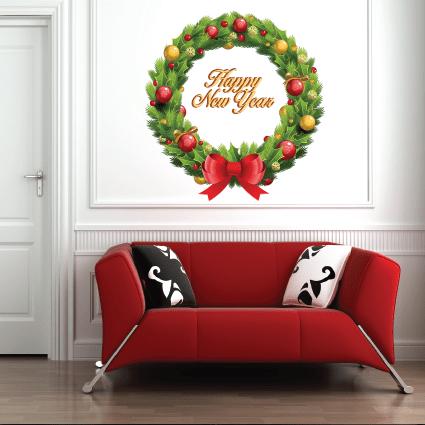 # Αυτοκόλλητο βιτρίνας Χριστουγεννιάτικο στεφάνι - Sticker Box