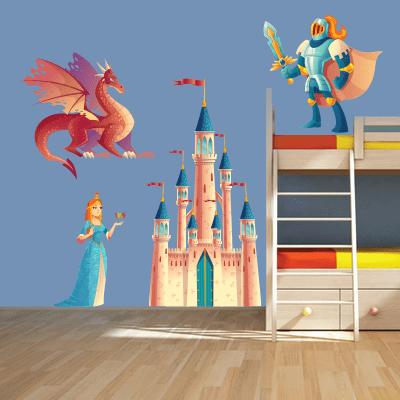 # Αυτοκόλλητο τοίχου δράκος και κάστρο - Sticker Box