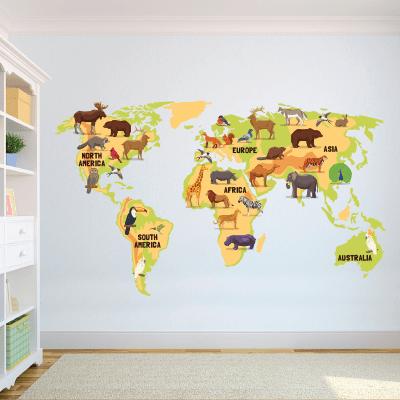 Αυτοκόλλητο τοίχου χάρτης ηπείρους και ζωάκια