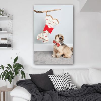 Πίνακας με σκύλο και κόκκαλο