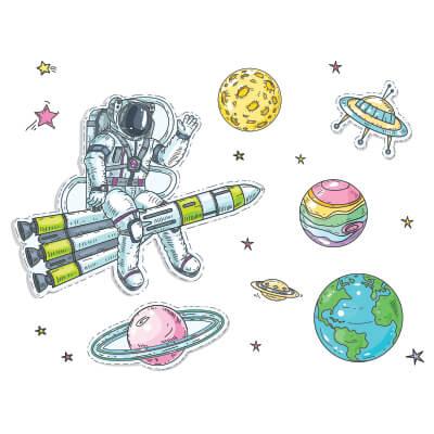 Αυτοκόλλητο τοίχου αστροναύτης_1