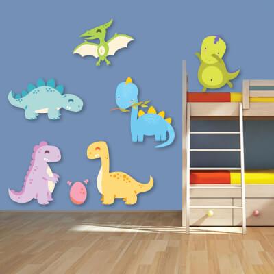 Αυτοκόλλητο τοίχου με δεινόσαυρους (σετ 2)