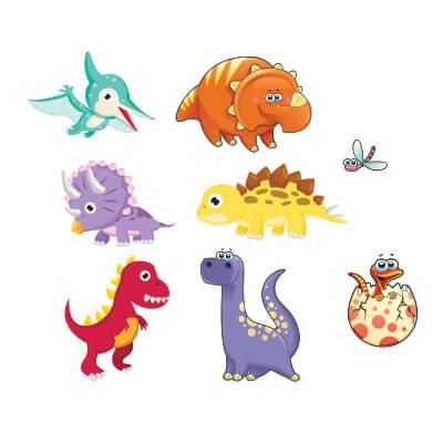 Αυτοκόλλητο τοίχου με δεινόσαυρους (σετ 3)