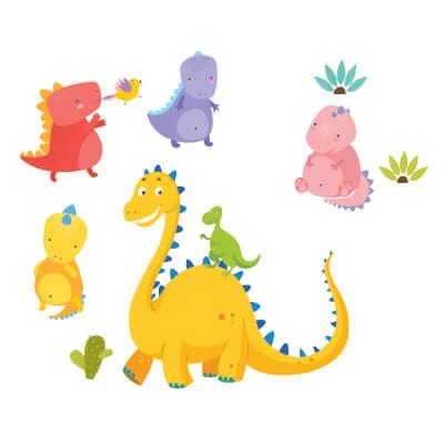 Αυτοκόλλητο τοίχου με δεινόσαυρους (σετ 4)