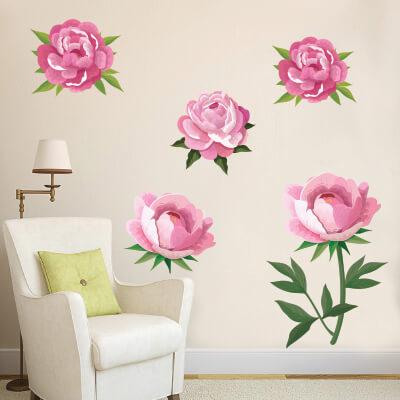 # Αυτοκόλλητο τοίχου με λουλούδια παιώνιες (σετ 2) - Sticker Box