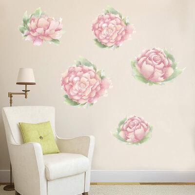 # Αυτοκόλλητο τοίχου με λουλούδια παιώνιες - Sticker Box