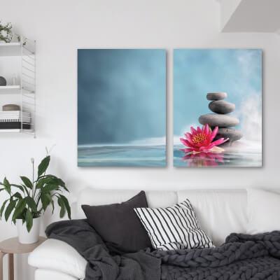 Δίπτυχος πίνακας με πέτρες zen και λουλούδι