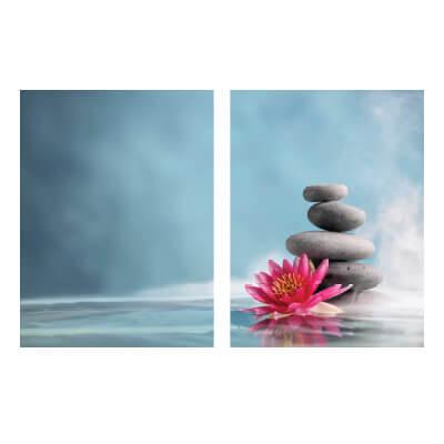 Πίνακας με πέτρες zen και λουλούδι_1