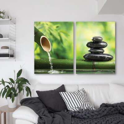 Δύπτυχος πίνακας με πέτρες zen
