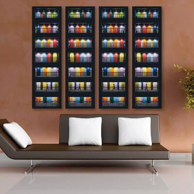 Τετράπτυχος πίνακας με πολύχρωμες πόρτες