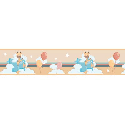 Αυτοκόλλητη μπορντούρα με καμηλοπάρδαλη και μπαλόνια