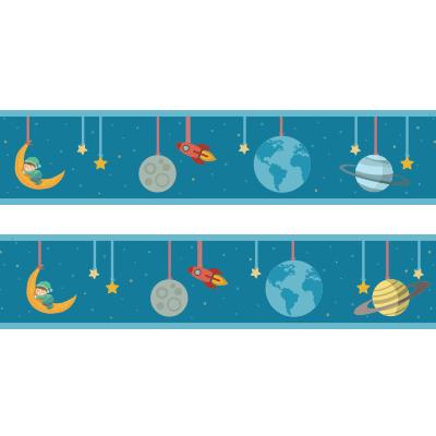 Αυτοκόλλητη μπορντούρα με πλανήτες & διαστημόπλοιο