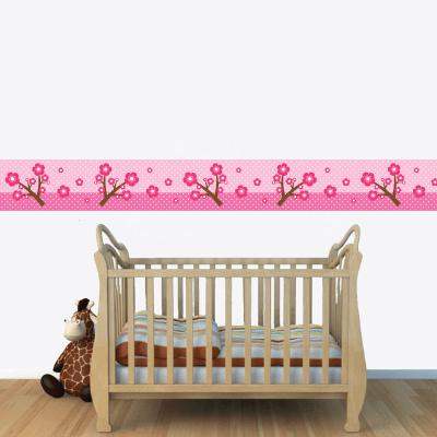 Αυτοκόλλητη μπορντούρα με ροζ λουλούδια